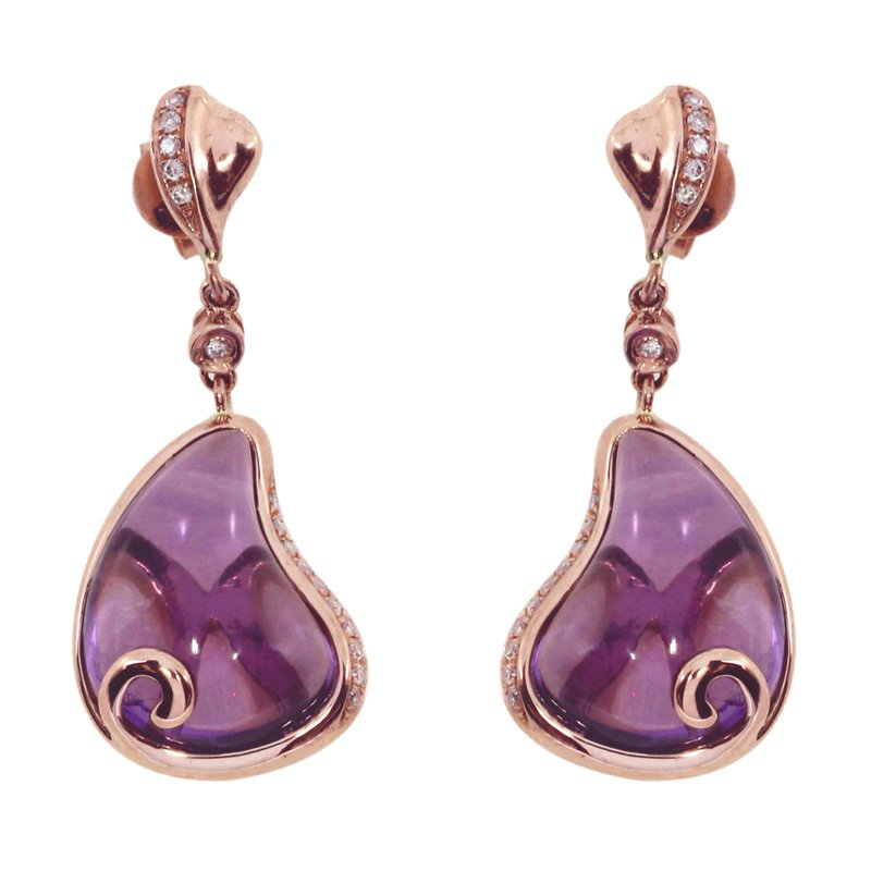 Color Merchants 14k Rose Gold Pear Amethyst Earrings