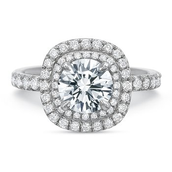 18K White gold halo  Semi Mount for 1.00.00-2.50 ct center