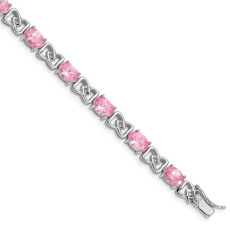 Quality Gold Sterling Silver Rhodium-plated 7inch Pink CZ Bracelet