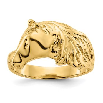 14K Gold Polished Horse Head Ring