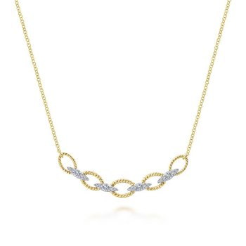 14K Yellow/White Gold Twisted Chain Link Diamond Necklace
