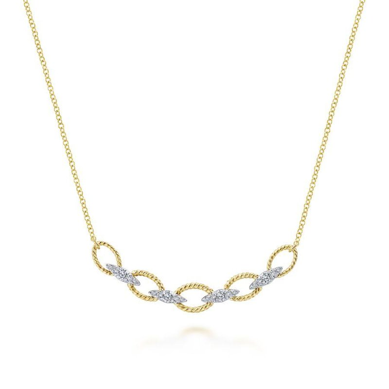 Gabriel  14K Yellow/White Gold Twisted Chain Link Diamond Necklace
