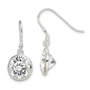 Sterling Silver 11mm Round Clear CZ Dangle Earrings