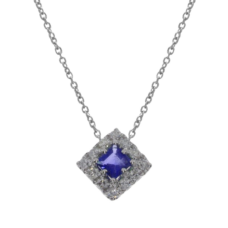 Color Merchants 14k White Gold Princess Sapphire Pendant