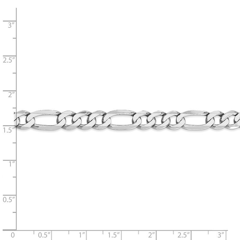 Quality Gold 14k WG 7mm Flat Figaro Chain