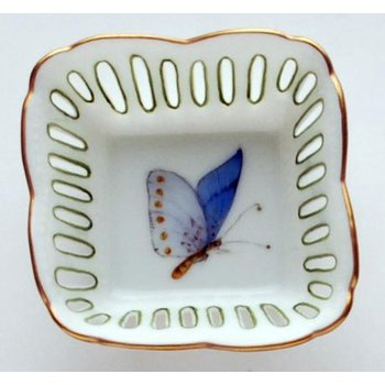 Small Square Dish Butterfly Blue