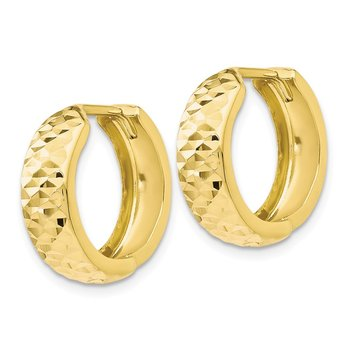 Leslie's 10K Polished and D/C Hinged Hoop Earrings