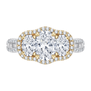 18K Two-Tone Gold Oval Cut Diamond Three-Stone Halo Engagement Ring (Semi-Mount)