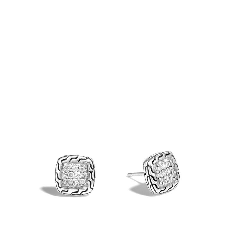 JOHN HARDY Classic Chain 9.5MM Stud Earrings in Silver with Diamonds