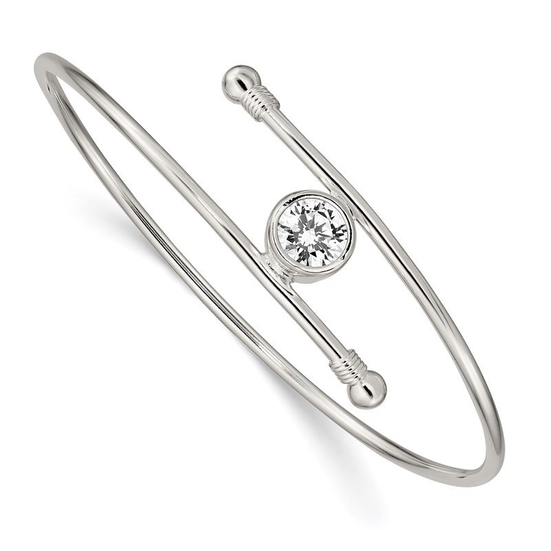 Quality Gold Sterling Silver Polished CZ Bangle