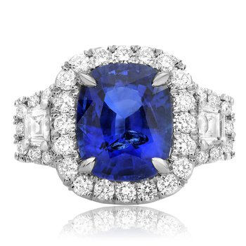 Platinum Sapphire Side Stone Ring