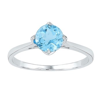Sterling Silver Womens Round Lab-Created Blue Topaz Solitaire Ring 1.00 Cttw