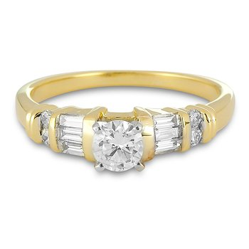 18K YG Diamond Engagement Ring