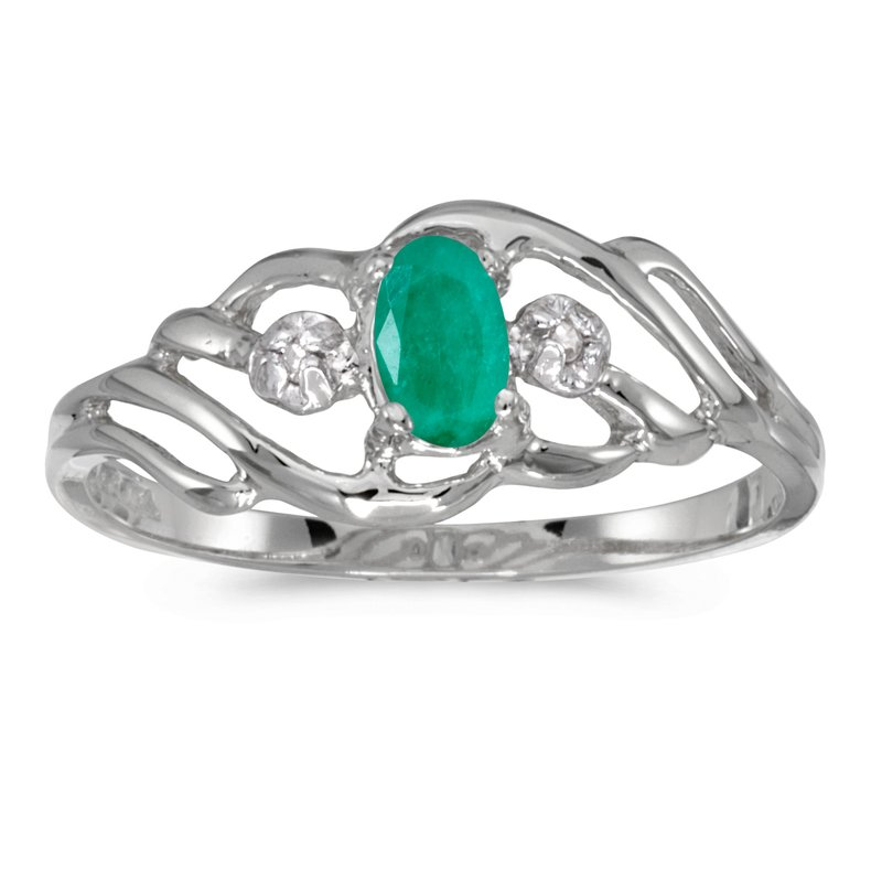Color Merchants 14k White Gold Oval Emerald And Diamond Ring