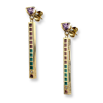 18 Karat Gold Modern Drop Earrings-Purple.  Diamonds, Amethyst.