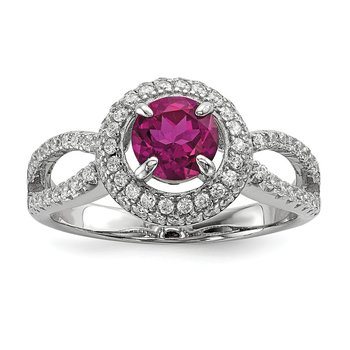 SS Rhodium-Plated CZ Brilliant Embers Circle Ring