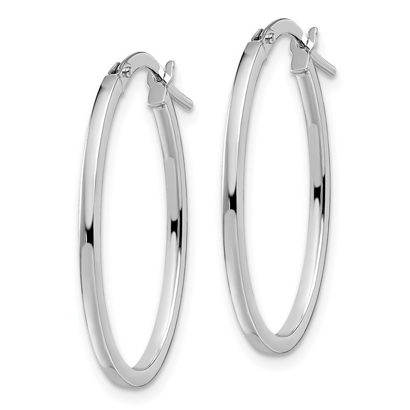 Leslie's Leslie's 14K White Gold Polished Oval Hoop Earrings