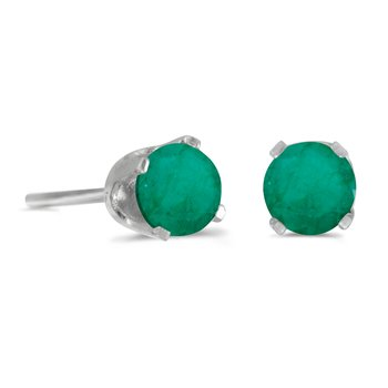 14k White Gold 4 mm Round Emerald Stud Earrings