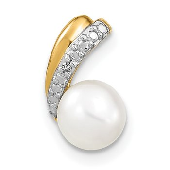 14k 6-7mm White Round FW Cultured Pearl and Diamond Pendant