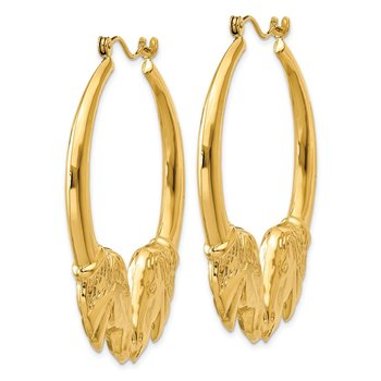 14k Polished Horse Hoop Earrings