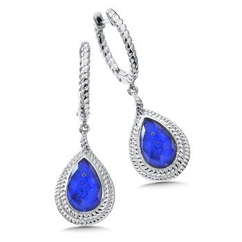 Sterling Silver Lapis Fusion Dangle Hoop Earrings