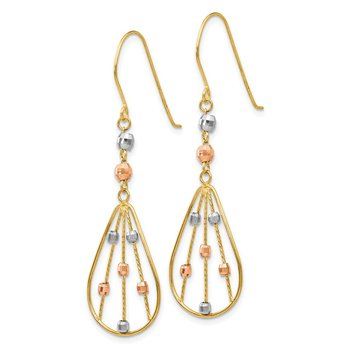 14K Tri Color Wire Dangle Shepherd Hook Earrings