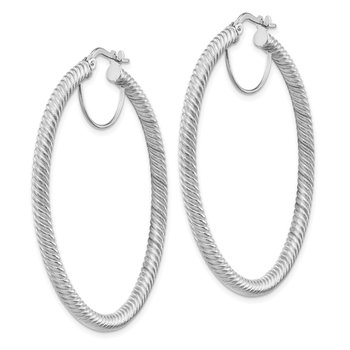 14k 3x40mm White Gold Twisted Round Hoop Earrings