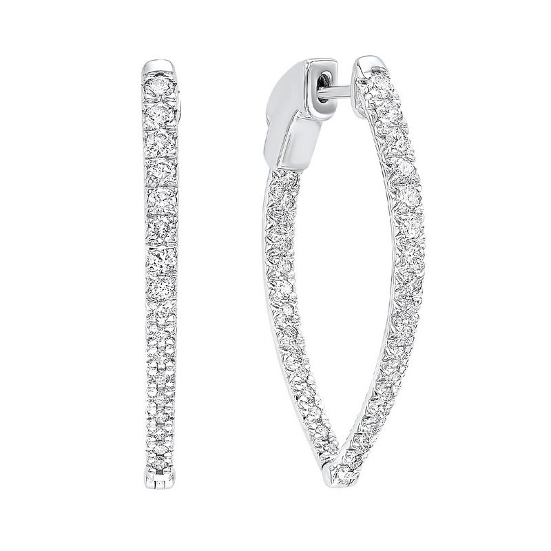 Gems One In-Out Diamond Hoop Earrings in 14K White Gold (1 ct. tw.) SI3 - G/H