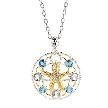 "Sterling Silver and 14K Yellow Gold Starfish Pendant with Semi-Precious Stones and Diamonds 1"" diameter"