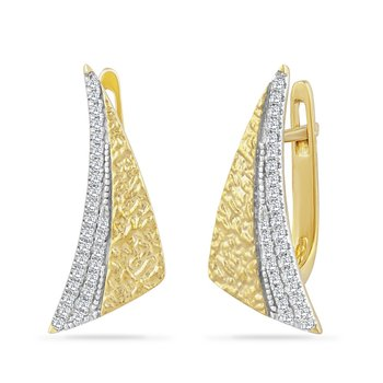 14K TRIANGLE SHAPE EARRINGS WITH 54 DIAMONDS 0.18CT