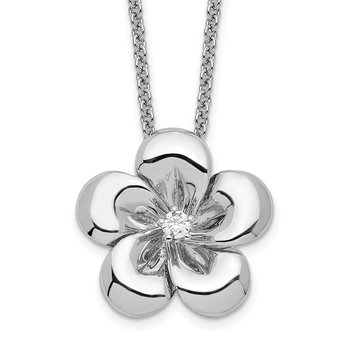 Sterling Silver CZ Be A Blessing 14in. Necklace w/ 2in. ext