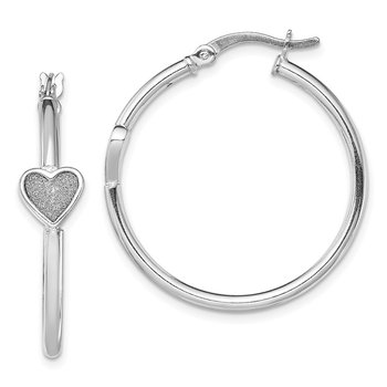 Sterling Silver RH-plated Enamel Glitter Fabric Heart Hoop Earrings
