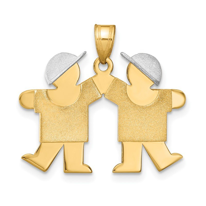 Quality Gold 14k Two-Tone Small Double Boys Engravable Charm