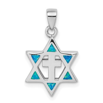 Sterling Silver Star of David Created Opal CZ Pendant
