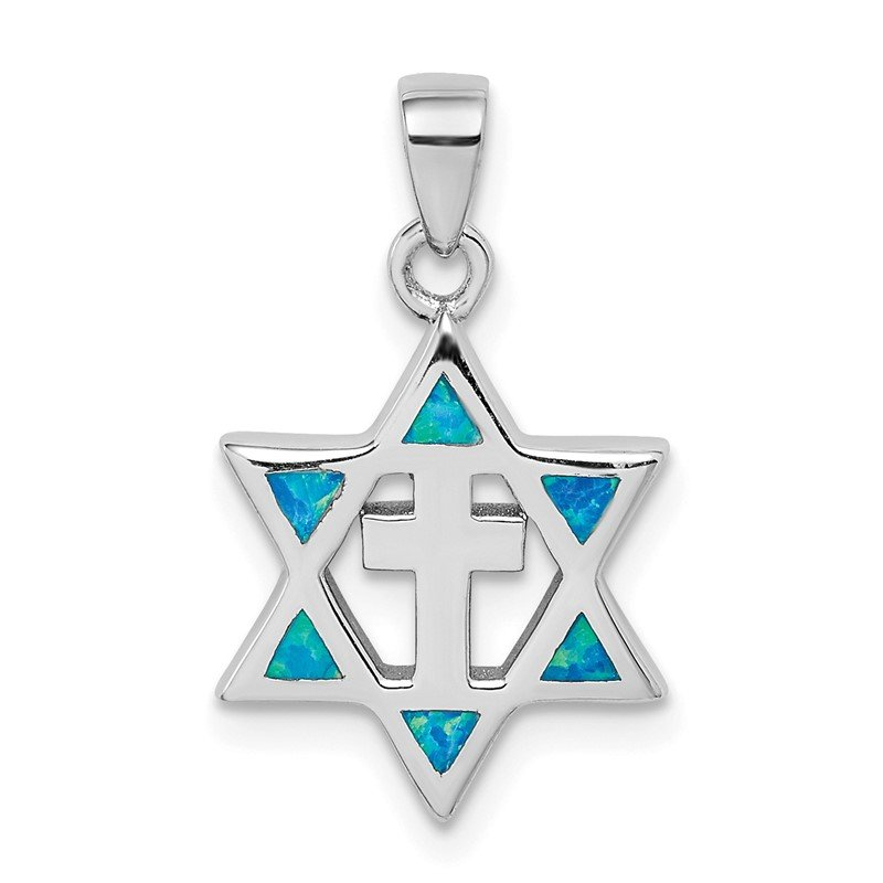 Quality Gold Sterling Silver Star of David Created Opal CZ Pendant