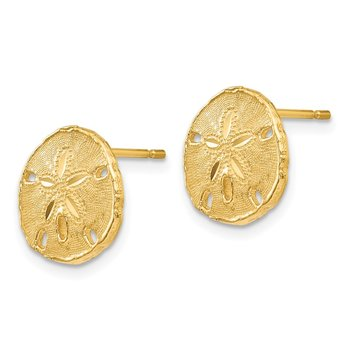 14k Gold Polished & Textured Sand Dollar Post Earrings
