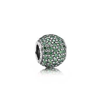 Pavé Lights Charm, Dark Green Cz