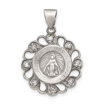 Sterling Silver & CZ Antiqued Blessed Mother Pendant