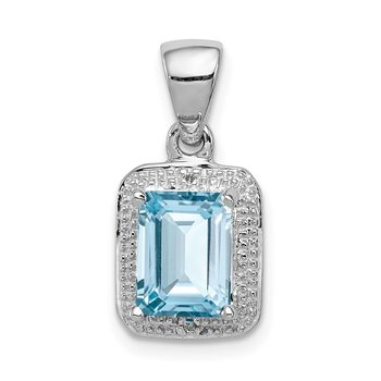 Sterling Silver Rhodium Emerald-cut Lt Sw Blue Topaz & Diamond Pendant