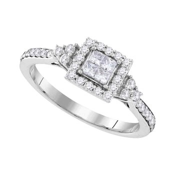 10kt White Gold Womens Princess Diamond Square Frame Cluster Ring 1/2 Cttw