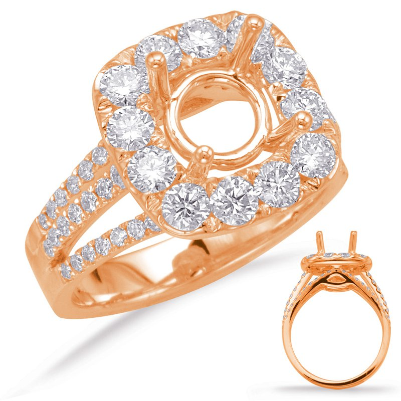 MAZZARESE Bridal Rose Gold Halo Engagement Ring