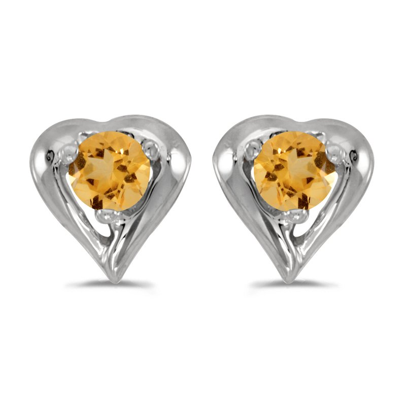 Color Merchants 10k White Gold Round Citrine Heart Earrings