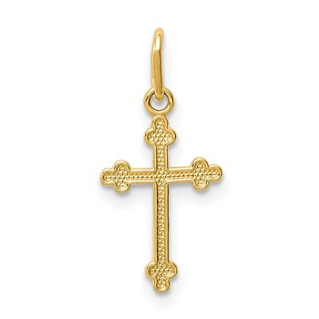 14k Polished Small Budded Cross Charm