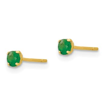14k Madi K Round Emerald 3mm Post Earrings