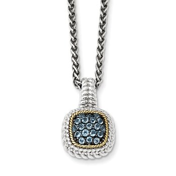 Sterling Silver w/14k and Black Rhodium Blue Topaz Necklace