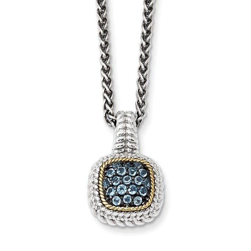 Shey Couture Sterling Silver w/14k and Black Rhodium Blue Topaz Necklace