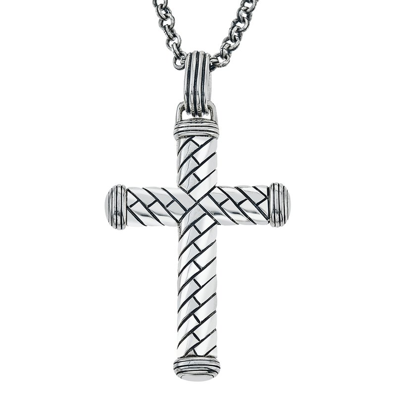 SDC Creations Men's Silver Herringbone Cross