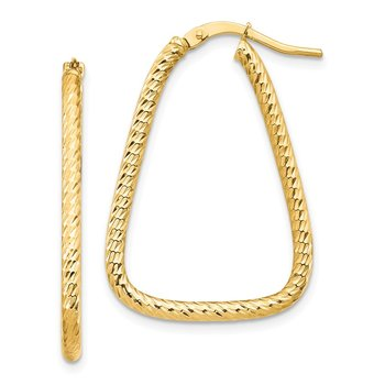 14k 2mm Small Diamond-cut Twisted Triangle Hoop Earrings