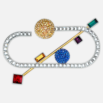 Spectacular Brooch, Dark multi-colored, Mixed metal finish