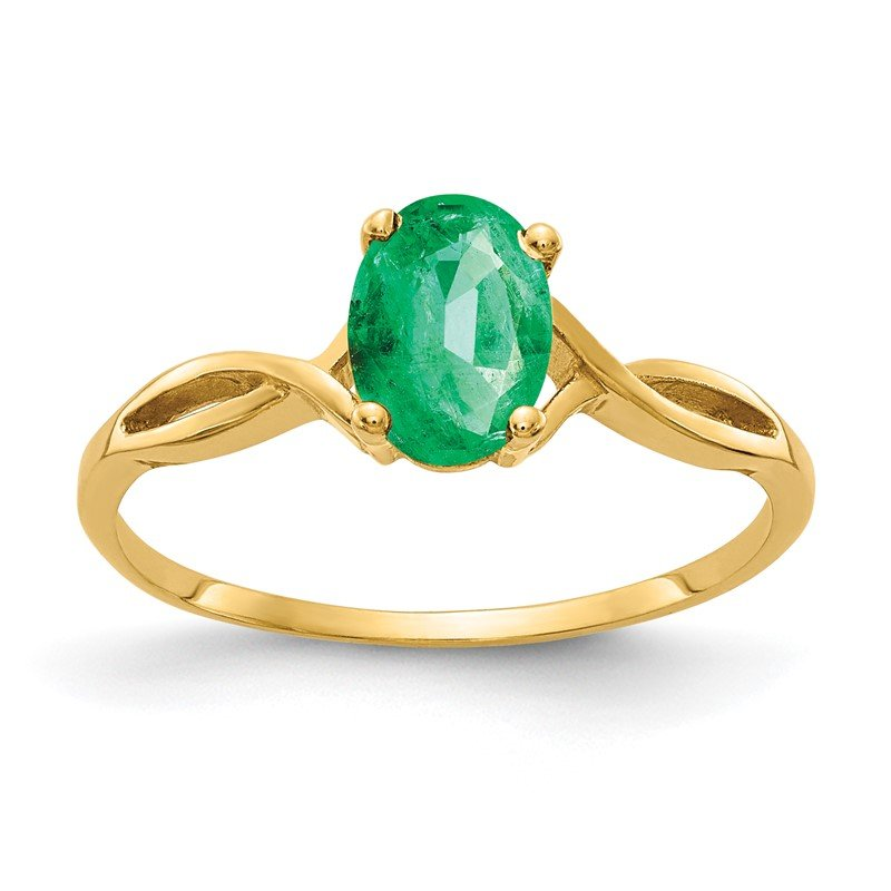 Quality Gold 14k 7x5mm Oval Emerald ring